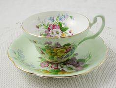 Foley Green Tea Cup and Saucer with Floral Bouquets, Vintage English Bone China, Teacup and Saucer