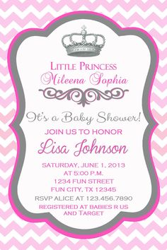 princess crown baby shower invitation by