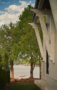 Lake house backyard