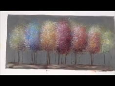 Easy acrylic painting tutorial - impressionist trees - free lesson - no brushes - just a sponge and an old credit card (notice how little paint is used on Acrylic Painting For Beginners, Simple Acrylic Paintings, Acrylic Painting Techniques, Easy Paintings, Acrylic Art, Acrylic Brushes, Painting Pictures, Colorful Paintings, Painting Videos