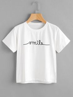 To find out about the Letter Embroidered Tee at SHEIN, part of our latest T-Shirts ready to shop online today! Teenager Mode, Latest T Shirt, Personalized T Shirts, Crop Tee, Tee Shirt, Polo Shirt, Printed Tees, Cute Shirts, Simple Shirts