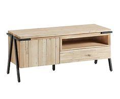 Mueble para TV de madera maciza de acacia, DM, acero y metal Thinh
