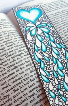 Original Art Bookmark, Heart Illustration, Valentine's Gift Idea, Zentangle Inspired Art. $30.00, via Etsy.