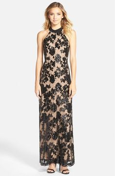 Dress The Population Valentina Lace Halter Gown BLACK/NUDE Size XS #54 #DRESSTHEPOPULATION #BallGown #Cocktail