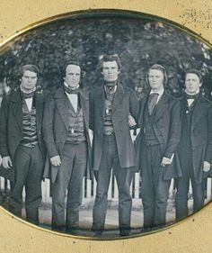 plate daguerreotype of 5 important Williams College men, circa stood together in front of a white picket fence somewhere on their campus in Western MASS Antique Photos, Vintage Photographs, Vintage Photos, Mode Masculine, Historical Clothing, Historical Photos, Old Pictures, Old Photos, Mens College Fashion
