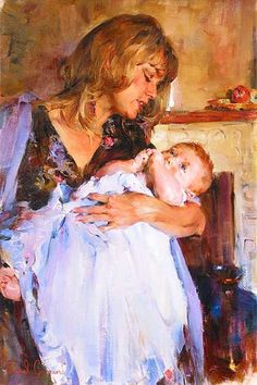 Pinturas de Michael e Inessa Garmash Double Exposition, Mother And Child Painting, Living At Home, Mothers Love, Female Art, Female Portrait, Art Gallery, Fine Art, Drawings