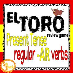 Play El Toro! to review verb forms with your students! Students try and collect all the forms of a verb before the other players in a fast-paced trading game. The first person to collect all the forms of the verb wins! Included regular present tense verbs: hablar, usar, comprar, visitar, bailar, cantar, caminar, and mirar.The vosotros form is included, but if that isn't something you use with your students there is a second set without vosotros!