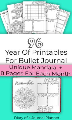 A whole year of printables for Bullet Journal! Includes a unique mandala design for each month and 8 pages per month including weekly spreads, monthly spreads, trackers and more. Bullet Journal For Beginners, Bullet Journal Hacks, Bullet Journal Printables, Bullet Journal How To Start A, Bullet Journal Layout, Bullet Journal Inspiration, Bullet Journals, Journal Ideas, Printable Planner Pages