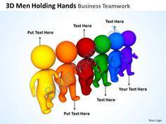 3d men holding hands business teamwork ppt graphics icons Slide01