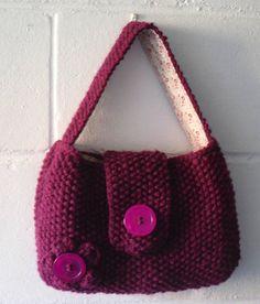 Hand Knitted Bag Small Dark Pink Handbag Knitted in Moss stitch #knitting #knitted #bags #handbags #etsy #gifts