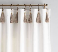 These tassels bring a touch of textured style to drapes. Created exclusively for Pottery Barn with renowned stylists and fashion designers Emily Current and Meritt Elliott, this collection offers both style and whimsy. Sheer Linen Curtains, White Curtains, Drapes Curtains, Curtains With Tassels, Striped Curtains, Pattern Curtains, Natural Curtains, Unique Curtains, Vintage Curtains