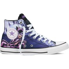 Converse Chuck Taylor All Star DC Comics Catwoman – eggplant peel... ($60) ❤ liked on Polyvore featuring shoes, sneakers, eggplant peel, rubber sole shoes, converse shoes, rubber caps, comic shoes and converse footwear