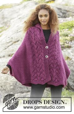 """Swing Along - Knitted DROPS jacket with lace pattern and shawl collar in """"Eskimo"""". Size: S - XXXL. - Free pattern by DROPS Design Poncho Knitting Patterns, Loom Knitting, Knitting Stitches, Knitting Designs, Knit Patterns, Free Knitting, Knit Shrug, Knitted Poncho, Crochet Shawl"""