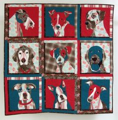 dog quilt That dog on the bottom left is my Bella. She is in Nancy Brown's competition quilt. Sadly, Bella died at age 4 of cancer. What fun to find her on Pinterest!!