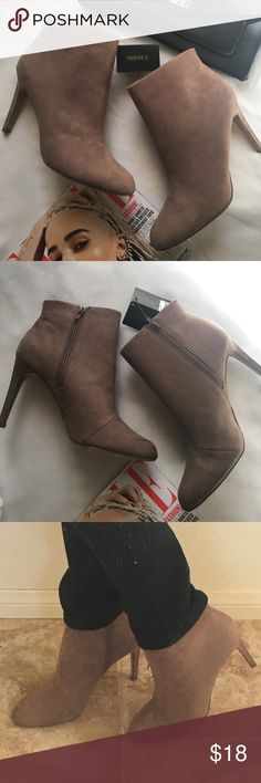 99a94aa0d694 NWT F21 Tan Ankle Booties Brand new never worn (outside) . Taupe Tan color