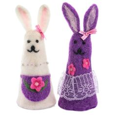 "Eierwärmer Filz ""Fashion Rabbits"" Hasenpaar - ca. 22x7cm"