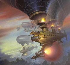 wooden spaceships - by Alan Gutierrez | Featured Artist on the Fantasy Gallery