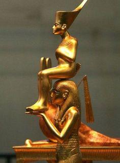 Deity Menkhemet carrying Tuttenkamun. 18th dynasty. Egypt.                                                                                                                                                     More