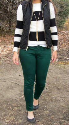 Black vest, striped skivvy, green skinny jeans, long necklace, grey flats. DONE :) I have copied with a black shirt.