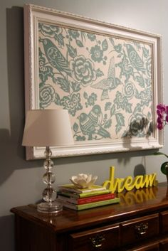 Fabric Wall Art, framed or not...love! Use words in house to complete look Living room