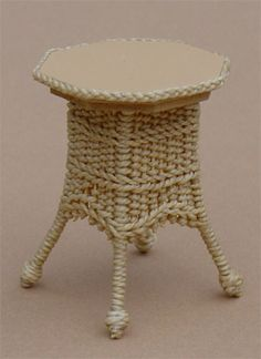 Small End Table / 4 Legs - $30.00 : Miniature Wicker Furniture by The Petticoat Porch, Handcrafted artisan dollhouse miniature wicker furniture