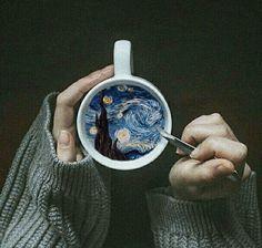 Art gif | Vincent Van Gogh: starry night, coffee art