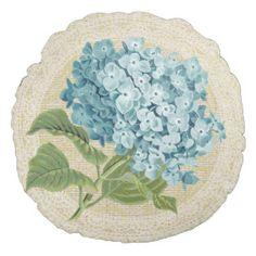 Blue hydrangea & lace floral vintage pillow round pillow