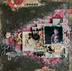 A mixed media layout created with the gorgeous Love Story collection from Blue Fern Studios, and with the Buttons and Bows and Tattered Diamonds chipboards