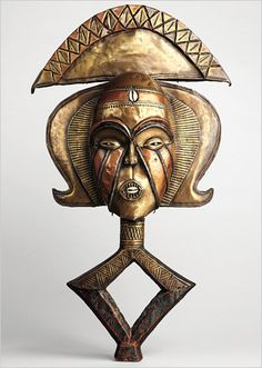 Africa | A Kota sculptural element from a reliquary ensemble from either Gabon or the DR of Congo. | Metropolitan Museum of Art.