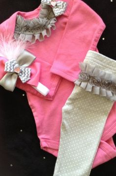 Items similar to Newborn baby girl take home outfit complete grey pink ruffles bows headband, matching pants, available in newborn, 3 and 6 month size on Etsy My Baby Girl, Baby Girl Newborn, Baby Love, Baby Sister, Cute Babies, Baby Kids, Pink Bodysuit, Cute Baby Clothes, Babies Clothes
