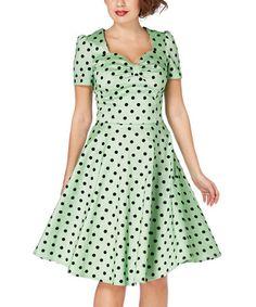 Another great find on #zulily! Green Polka Dot A-Line Dress #zulilyfinds