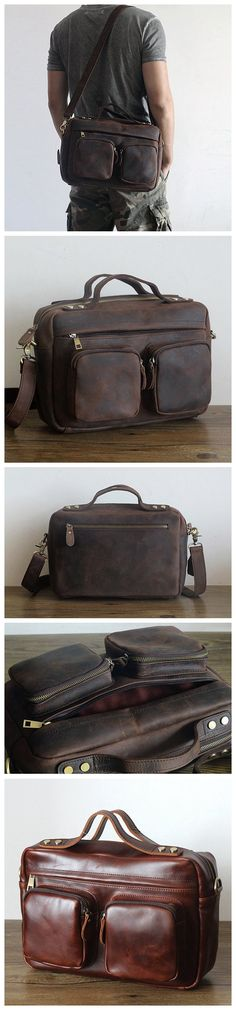 "ROCKCOW Crazy-Horse Leather Briefcase 13"" Laptop Tote Shoulder Bag PD2067 Model Number: PD2067 Dimensions: 13""L x 4.3""W x 8.6""H / 33cm(L) x 11cm(W) x 22cm(H) Weight: 3.7lb / 1.7kg Hardware: Brass Hard"