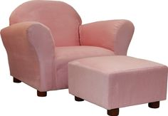 Pink Chair For Girls Room : Cute Baby Room Furniture Design Of Cozy Pink Glider Chair Designed With Arms And Complete With Square Foot Stool On Small Brown Legs