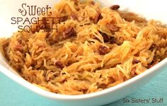 Sweet Spaghetti Squash from sixsistersstuff.com.  The perfect fall side dish! #recipes #squash #sidedish