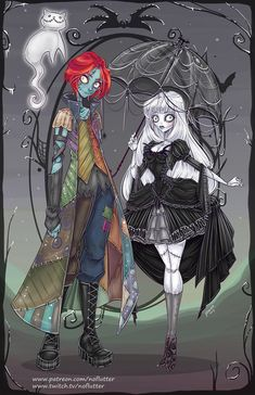 Genderswap Jack & Sally from The Nightmare Before Christmas Fan Art http://geekxgirls.com/article.php?ID=9327