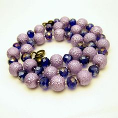 Chunky Textured Lavender Beads with Blue Crystals - #Vintage Necklace by #MyClassicJewelry https://www.etsy.com/shop/MyClassicJewelry?page=3