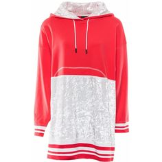 Okayla - Coral Red Oversized Hoody Sweater Dress (¥10,265) ❤ liked on Polyvore featuring dresses, red sweater dress, stripe dress, striped dress, ribbed dress and oversized sweater dress