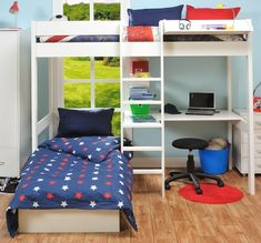 Last Years model High Sleeper with Pull Out Chair Bed in Blue + Free Mattress