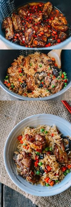 Ribs and Rice is an awesome one pot meal that's one of many great rice cooker recipes. The flavors of pork ribs, shiitake mushrooms, and vegetables infuse into the rice. Crock Pot Recipes, Rice Cooker Recipes, Pressure Cooker Recipes, Rice Recipes, Pork Recipes, Asian Recipes, Cooking Recipes, Water Recipes, Bread Recipes