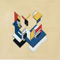 """Theo van Doesburg. Contra-Construction.  Gouache on lithograph on paper. 22 1/2"""" x 22 1/2"""" - 1923. Friends with Mondrian, advocate of De Stijl."""