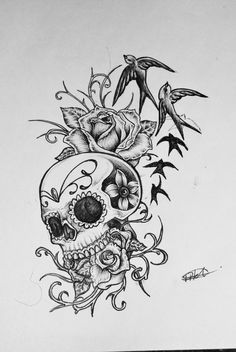 sugar skull with flowers tattoo - Google Search