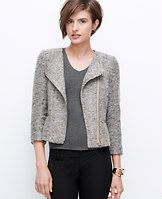 """Tweed Moto Jacket - Styled in simply-must-have tweed with flecks of gorgeous color, this marvelously textured jacket is key for fall. Pair with skinny leggings or a pencil skirt for an of-the-moment look. Jewel neck. 3/4 sleeves. Asymmetrical zip front. Front shoulder yoke. Front besom zipper pockets. Lined. 20"""" long."""