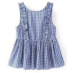 Frill Trim Gingham Sleeveless Top (€15) ❤ liked on Polyvore featuring tops, sleeveless tank top, blue tank top, frill top, no sleeve tops and ruffle tanks