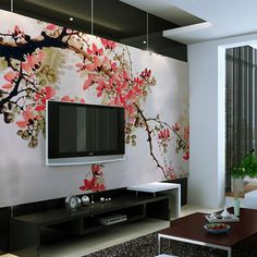 Japanese Flowers Garden Blossom Wall Murals Stickers in Modern Living Room Decorating Designs Ideas Contemporary Living Room Interior with C. Deco Design, Wall Design, Living Room Interior, Living Room Decor, Dining Room, Tv Wall Decor, Wall Decorations, Asian Home Decor, Contemporary Decor