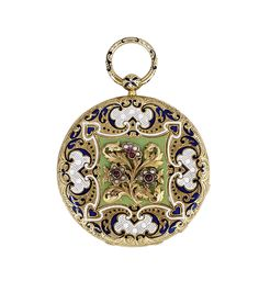 Antique 18k Yellow Gold And Enamel Pocket Watch circa 1860.