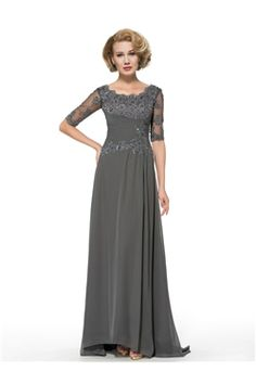 mubridal.com.au Offers You Scoop All Sizes Half Sleeves A-line Formal Floor-Length Appliques Elegant & Luxurious Dress Australia,Price: AUD$194.23