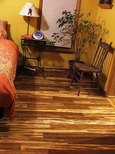 Here is  a bamboo floor with yellow walls: tiger_strand_marble_bamboo_flooring