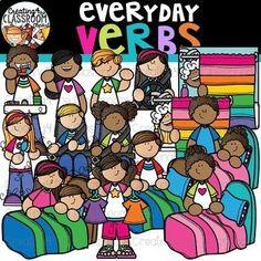 Everyday Verbs Clipart {Verbs Clipart} Creating4 the Classroom Clipart