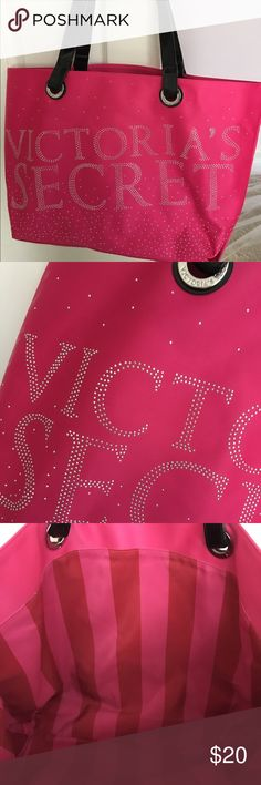 Victoria's Secret tote Pink with silver bling, stripes inside, only used a few times. No sign of wear. Victoria's Secret Bags Totes