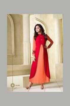 Red Peach Function Wear Fancy Celebrity Dhrasti Dhami Kurti With Work 904